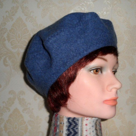 b359daa9 Blue grey color cashmere beret-Women's french style beret-Pure felted  cashmere beret-Classic women beret-Blue grey hat-Handmade trendy beret