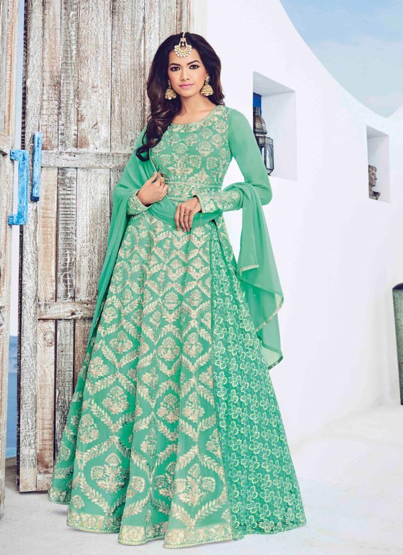 Green #Pastel #Anarkali #Suit #Bridal #Elegant   Pastels   Pinterest ...