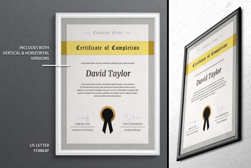 Psd certificate of completion template certificate of completion psd certificate of completion template yadclub Images