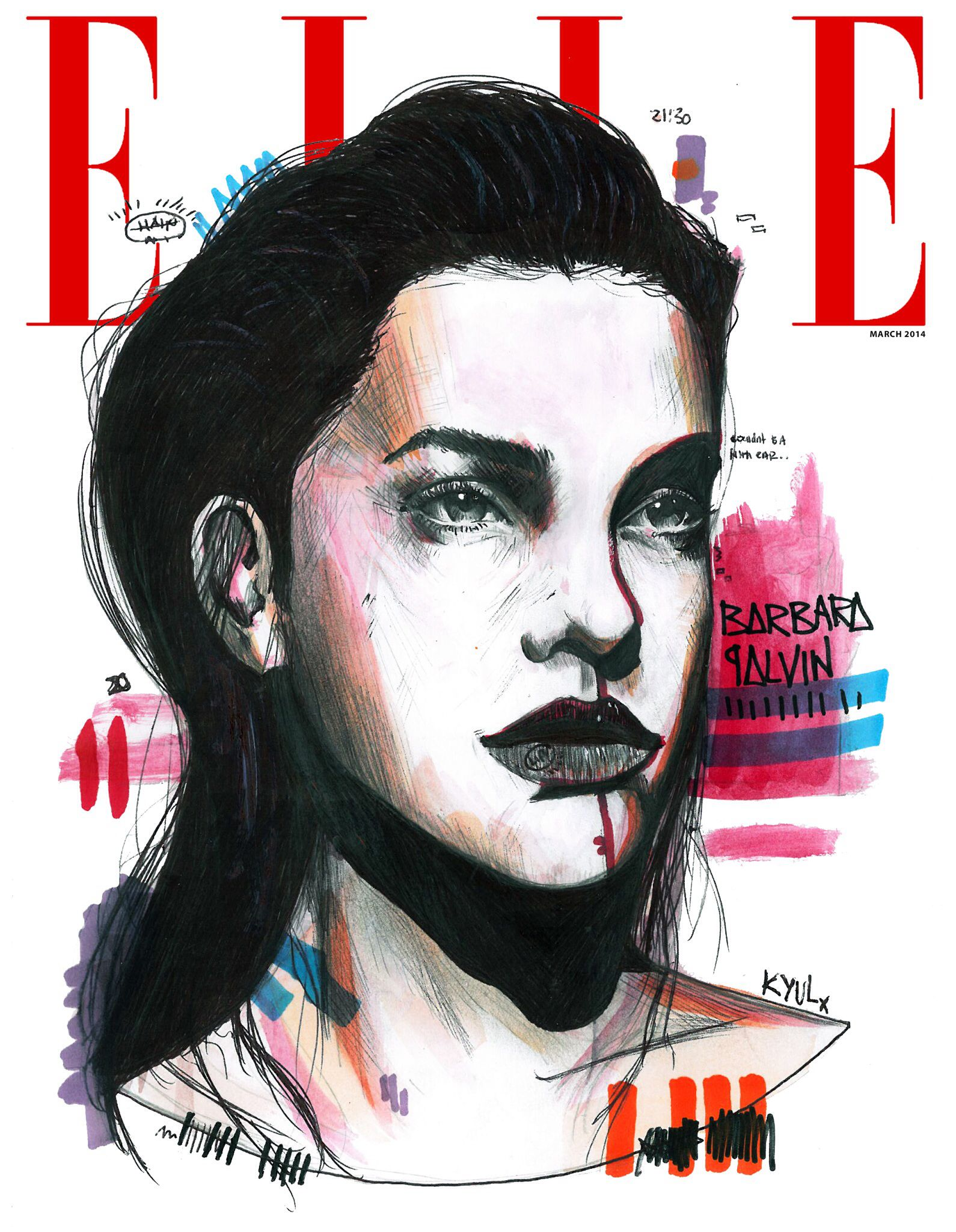 Barbara Palvin ELLE front cover illustration by KYULx ...