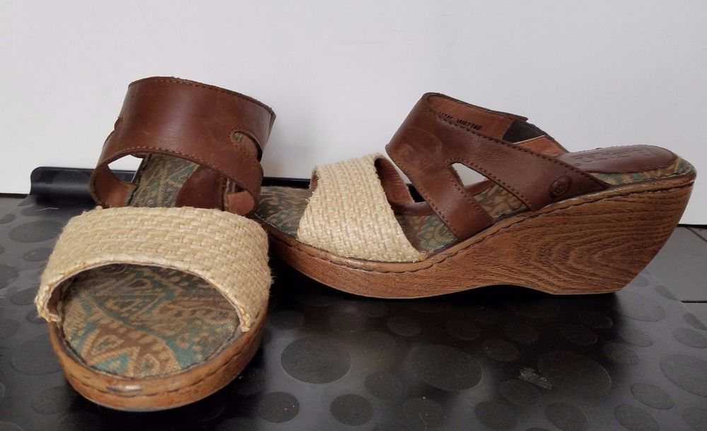 Born Mona Mocca Wedge Slides Sandals Brown Platform Shoes