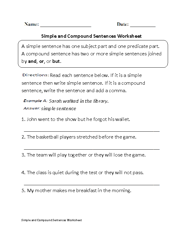 Simple and Compound Sentences Worksheet – Simple Sentence Worksheet
