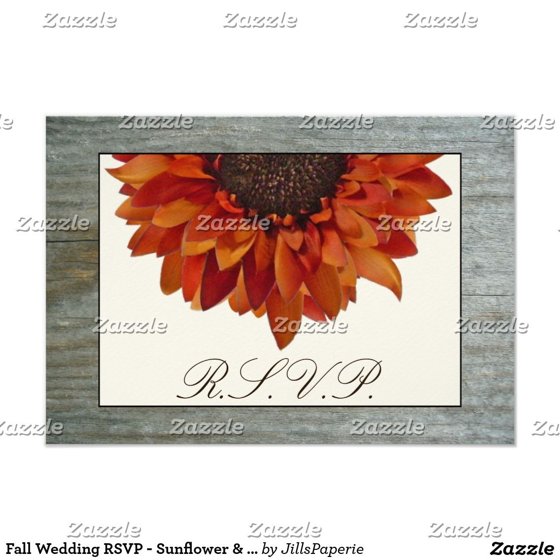Fall Wedding RSVP - Sunflower & Barnwood Card | Sunflower wedding ...
