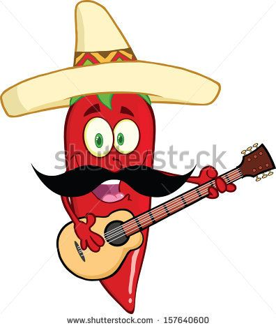 01dac22566246 Red Chili Pepper Cartoon Character With Mexican Hat And Mustache Playing A  Guitar