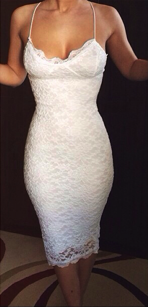 eddc060a6095 White Lace Sheath Short Party Dress With Spaghetti Straps