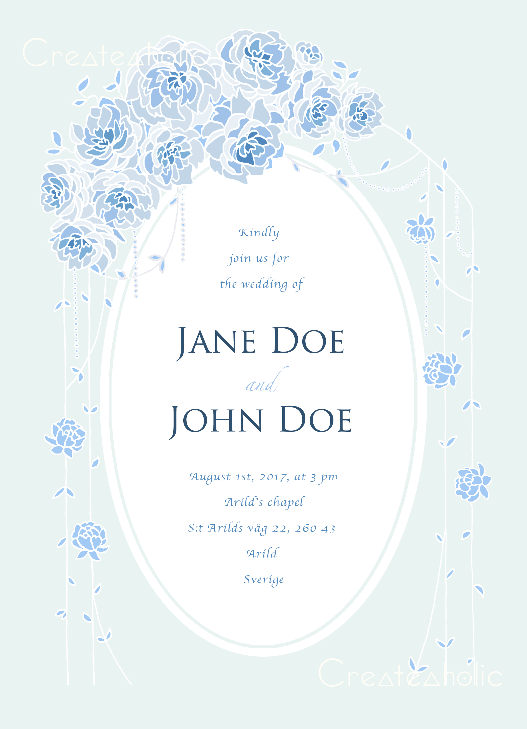 Printable Wedding invitations This product includes a custom made ...