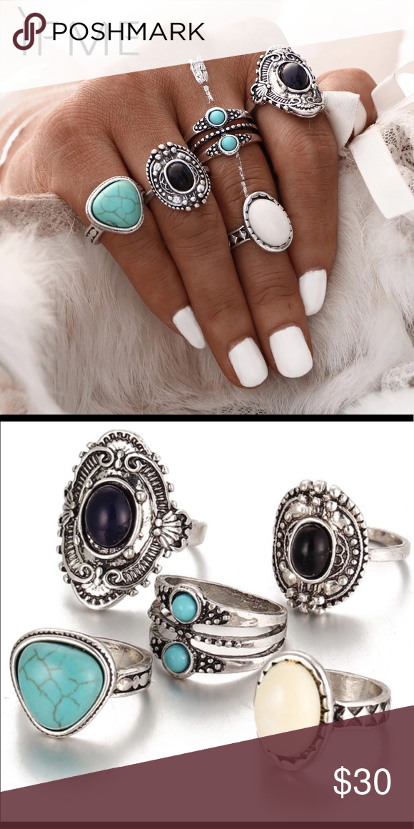 Queen Esther 5PCS Bohemian Vintage Ring Set (With images