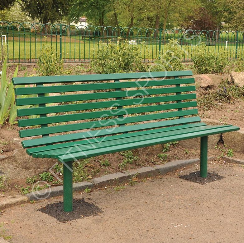 Tubular And Box Welded Steel Outdoor Public Seating Bench Solid Commercial Park Construction