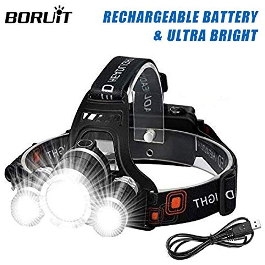 Boruit Wesho Rechargeable Headlight With 3 Lights 4 Modes 6000