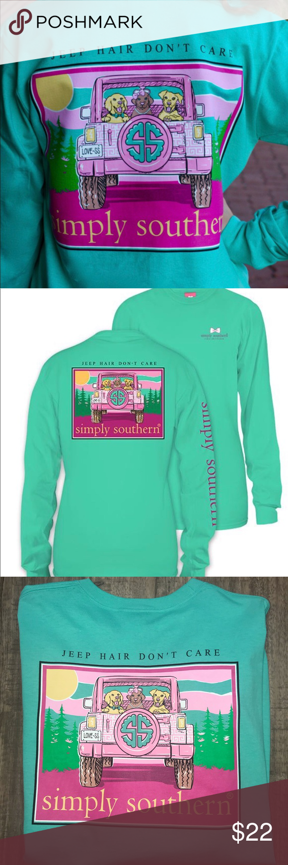 3e93aca1 Simply Southern Jeep Hair Don't Care Pink Tee Super cute pink Jeep tee from Simply  Southern... Jeep Hair Don't Care! Long sleeve, 100% comfy cotton. Women's  ...