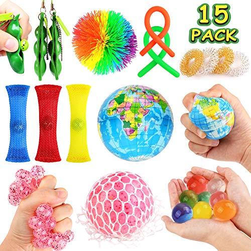 Pop-It Fidget Toys Set For Kids And Adults,Bundle Sensory Toy Stress Relief Toys Fidget Toys Set Sensory Toys For Autism ADHD Autism Stress Anxiety Marble Fabric Sensory Toys Squeeze Bean