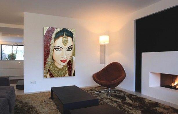 Modern Interieur Schilderij : Modern schilderij met gouden accenten geeft je interieur een