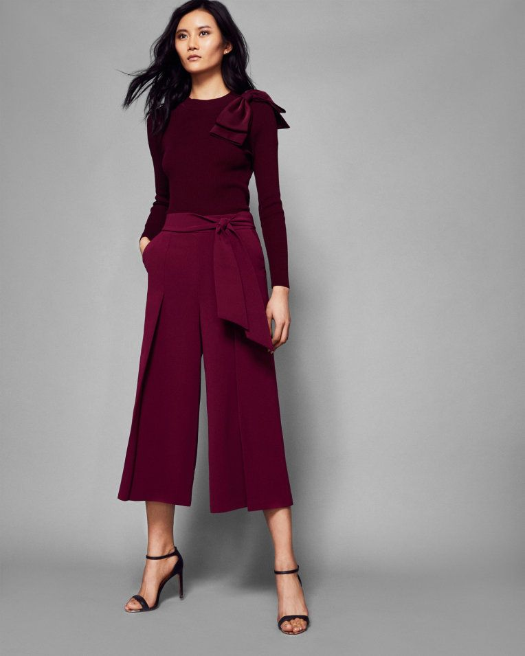 5a0beeab3874fa Tie waist culottes - Deep Purple | Trousers and Shorts | Ted Baker ...