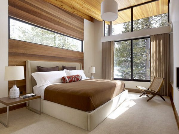 bedroom design ideas with wood accents and glass window - Bedroom Design Wood