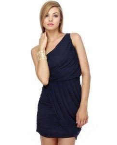 navy blue dress for wedding   golden earrings   nude pumps - My ...