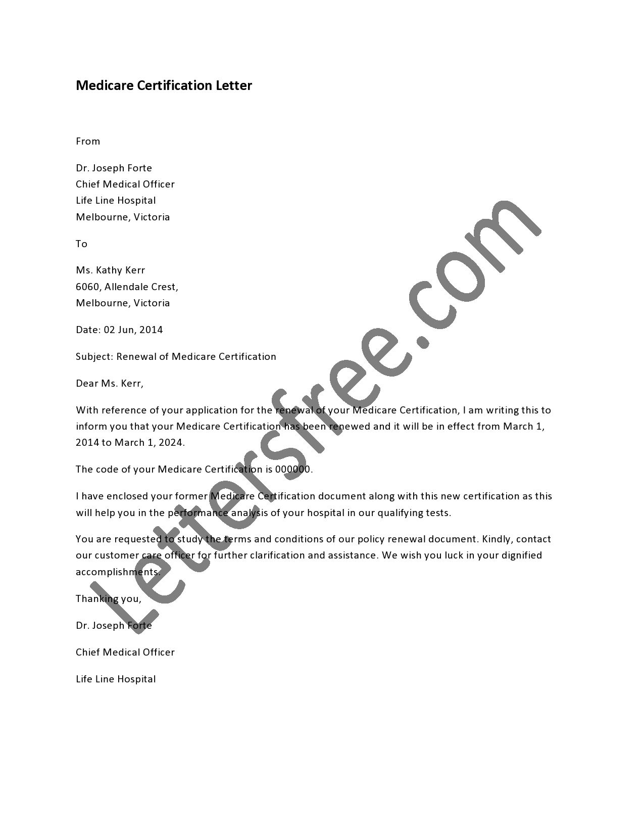 Examples of medicare certification letter in a well