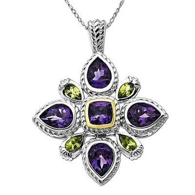 Amethyst and Peridot Cross Pendant