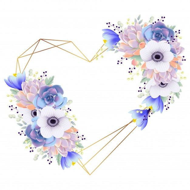 Love Frame Background Anemone Flower And Succulent
