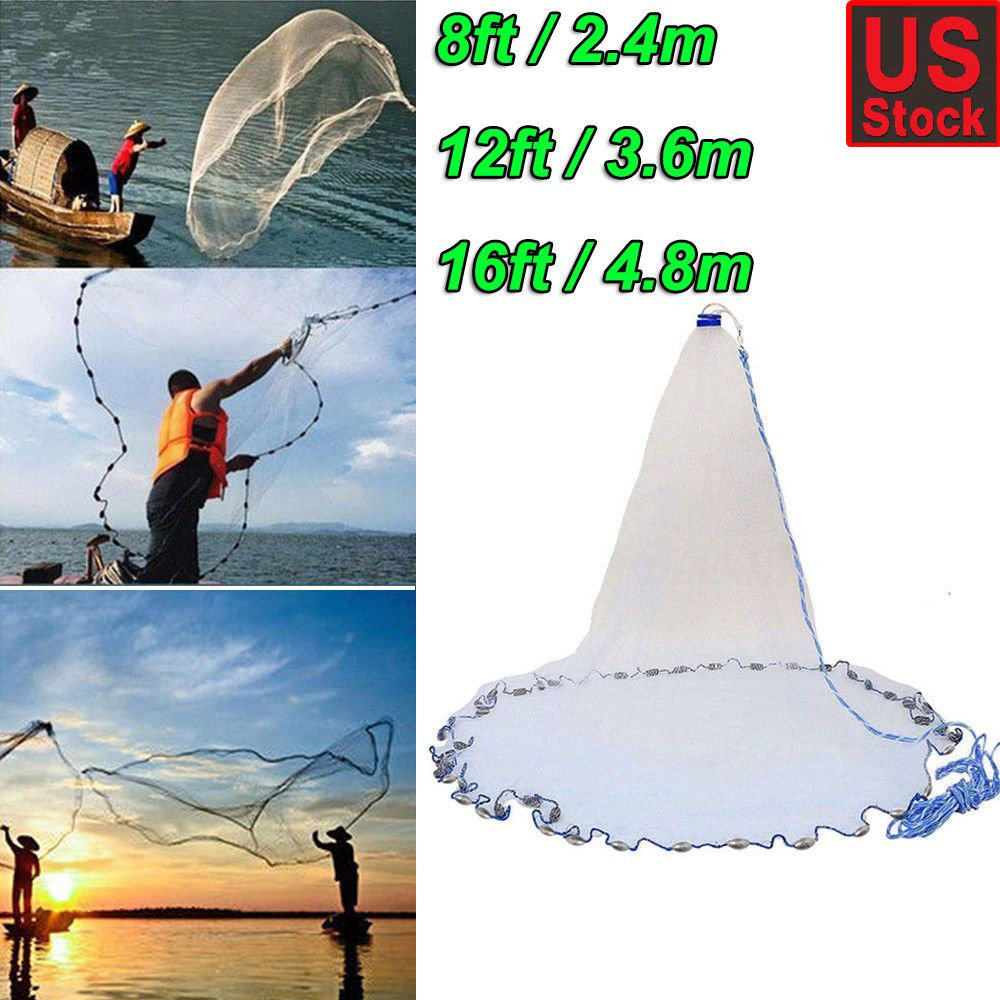 Big Fishing Net Casting Catching Bait Fish Open Easy Throw Large Catch 80lbs NEW