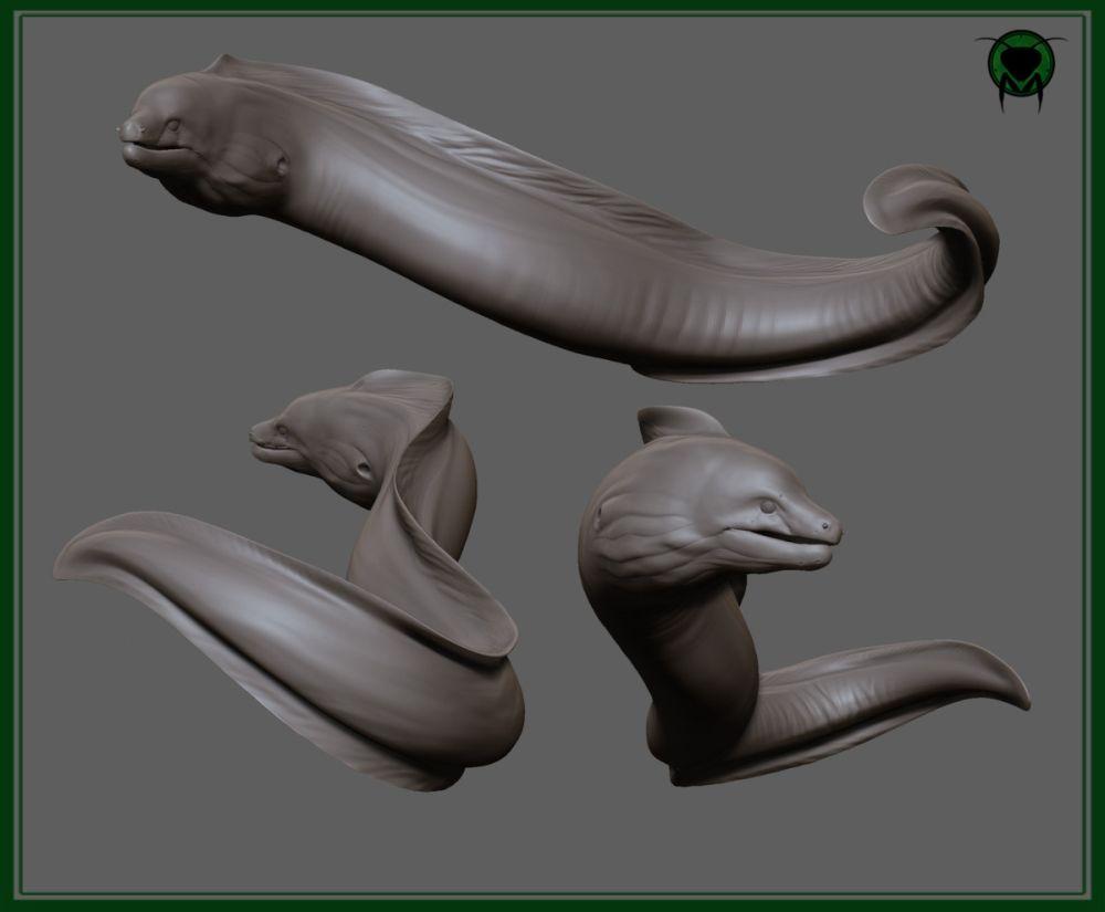 Digital illustration of a Moray Eel | Z Brush 3D | Pinterest ...