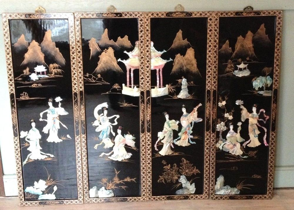 Oriental Wall Art vintage black lacquer wood mother of pearl oriental wall art