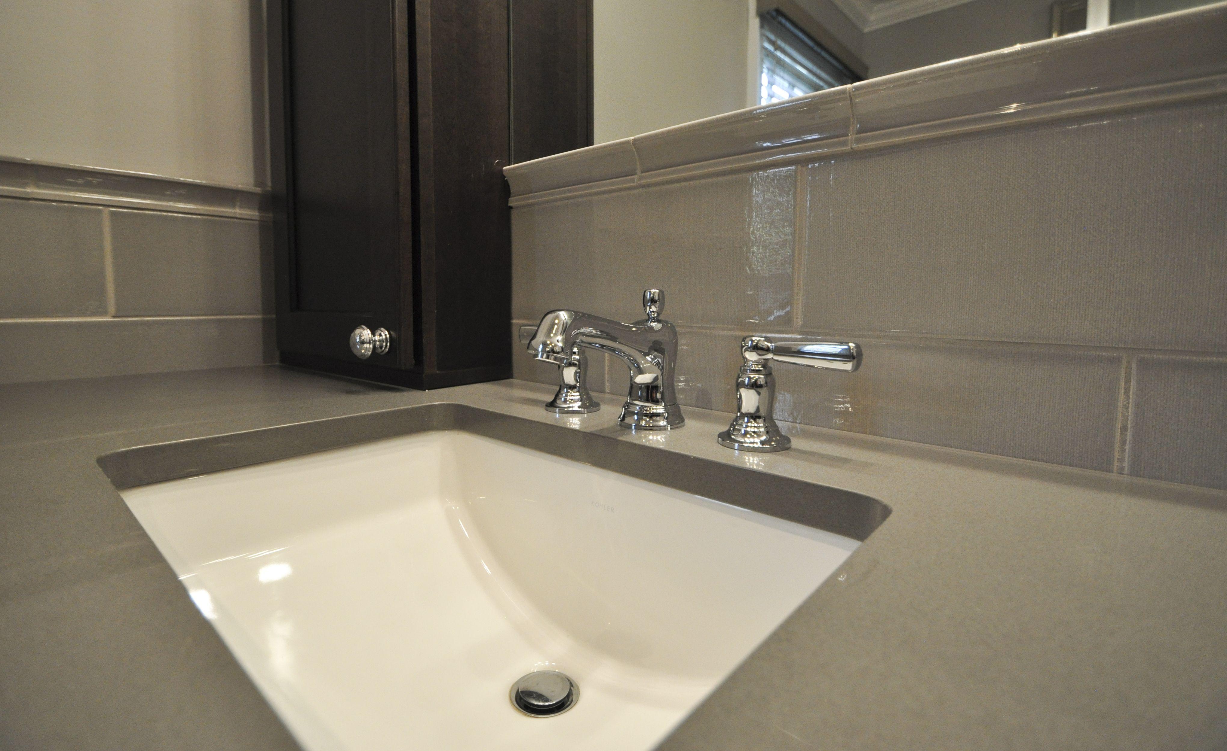 Kohler Chrome Fixtures Under Mount Sink Linen Ceramic Tile