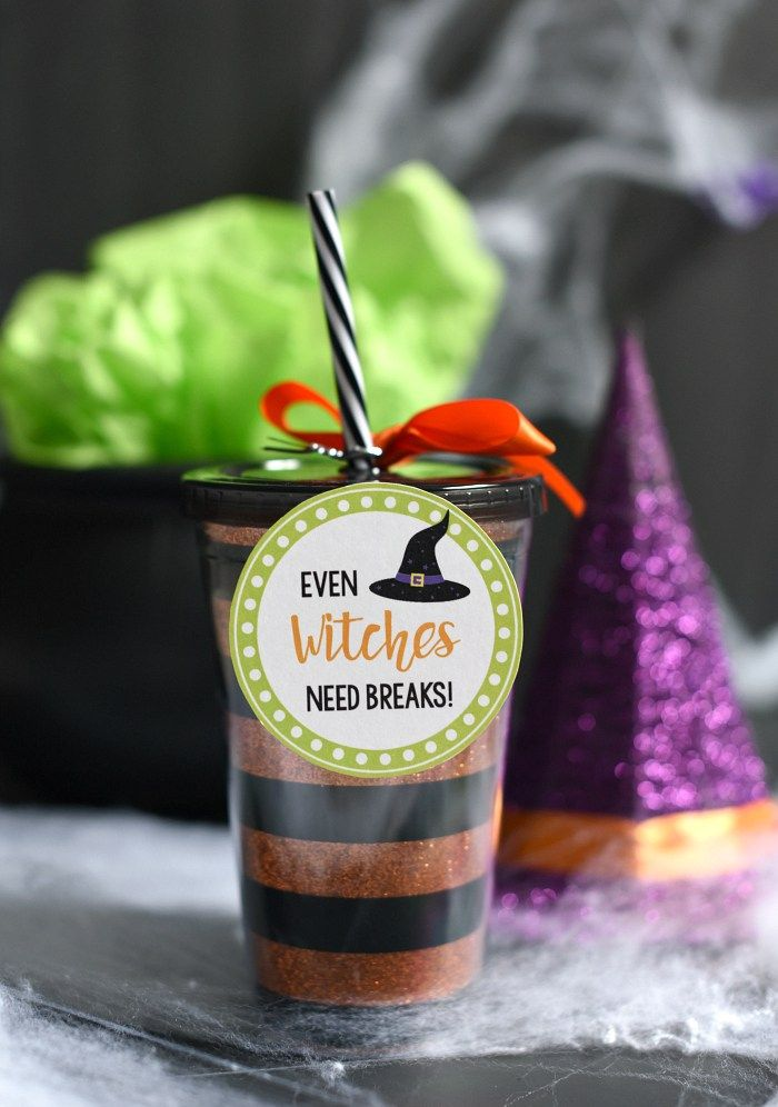 Cute Halloween Gift Witch Drink Cup Witches, Cups and Free printable - cute halloween gift ideas