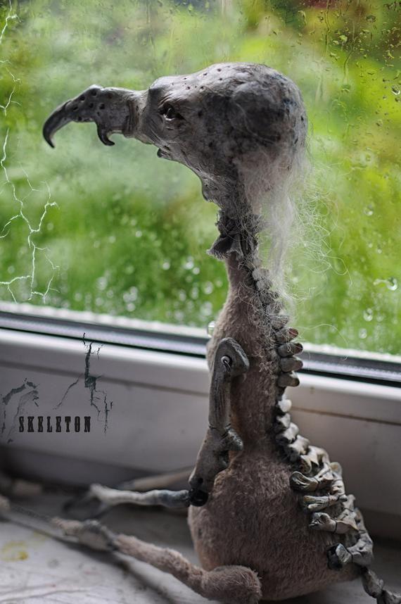 Village Halloween 2020 Photos Rat SKELETON doll rat Creepy clay sculpture Goth horror creature