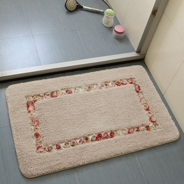 Thick Suede Material Bathroom Mats Set Non Slip Bath Mats Floor