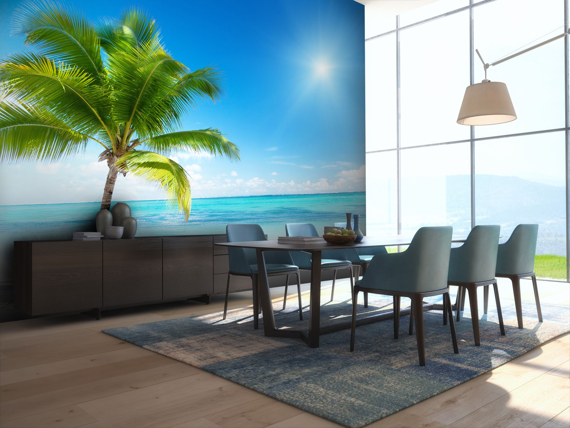Palm tree in the dining room wall mural Beach wall