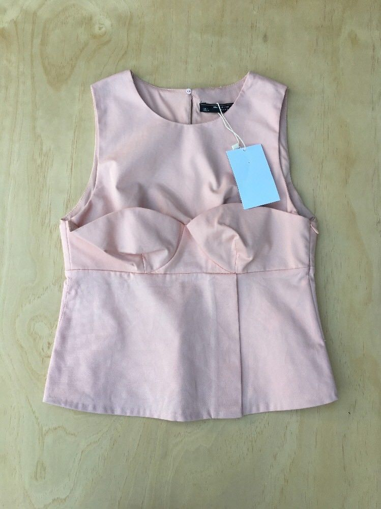 ffdd02c79ce59 10.47 ❤ NEW Zara Trafaluc Pink Structured Sleeveless Crop Top Size S NWT  A81 ❤