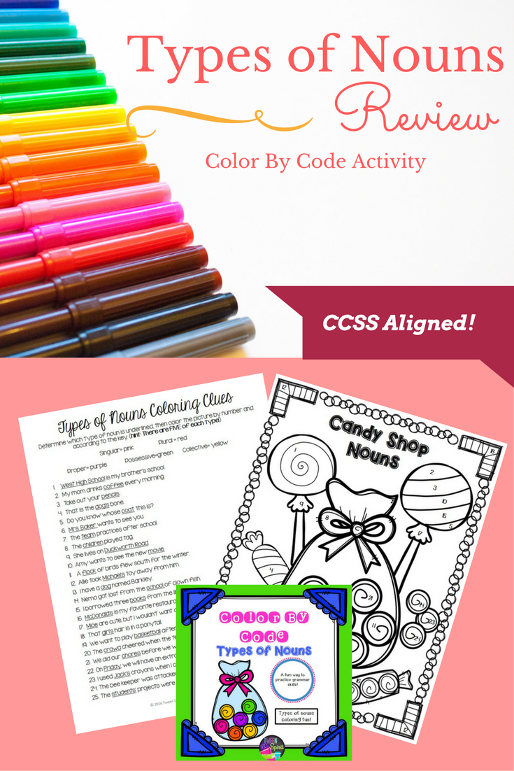 Nouns Review and Grammar Practice Color By Code! {Elementary
