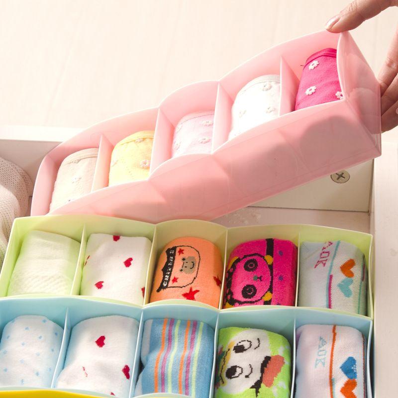 1pcJapanese Style 5 Grids Socks Underwear Drawer Classified Storage Box  Finishing Cosmetic Desktop Plastic Box