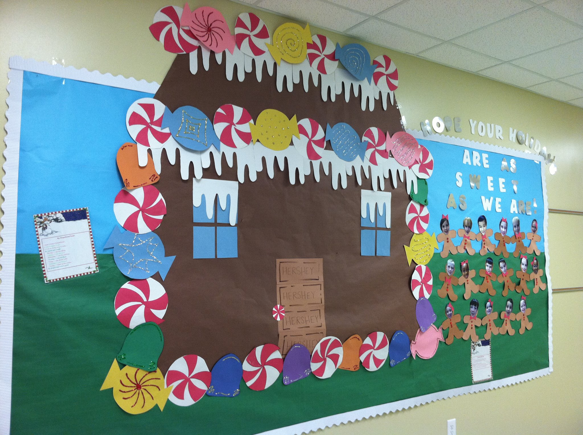 Winter Classroom Idea ~ Winter bulletin board idea like the gingerbread house