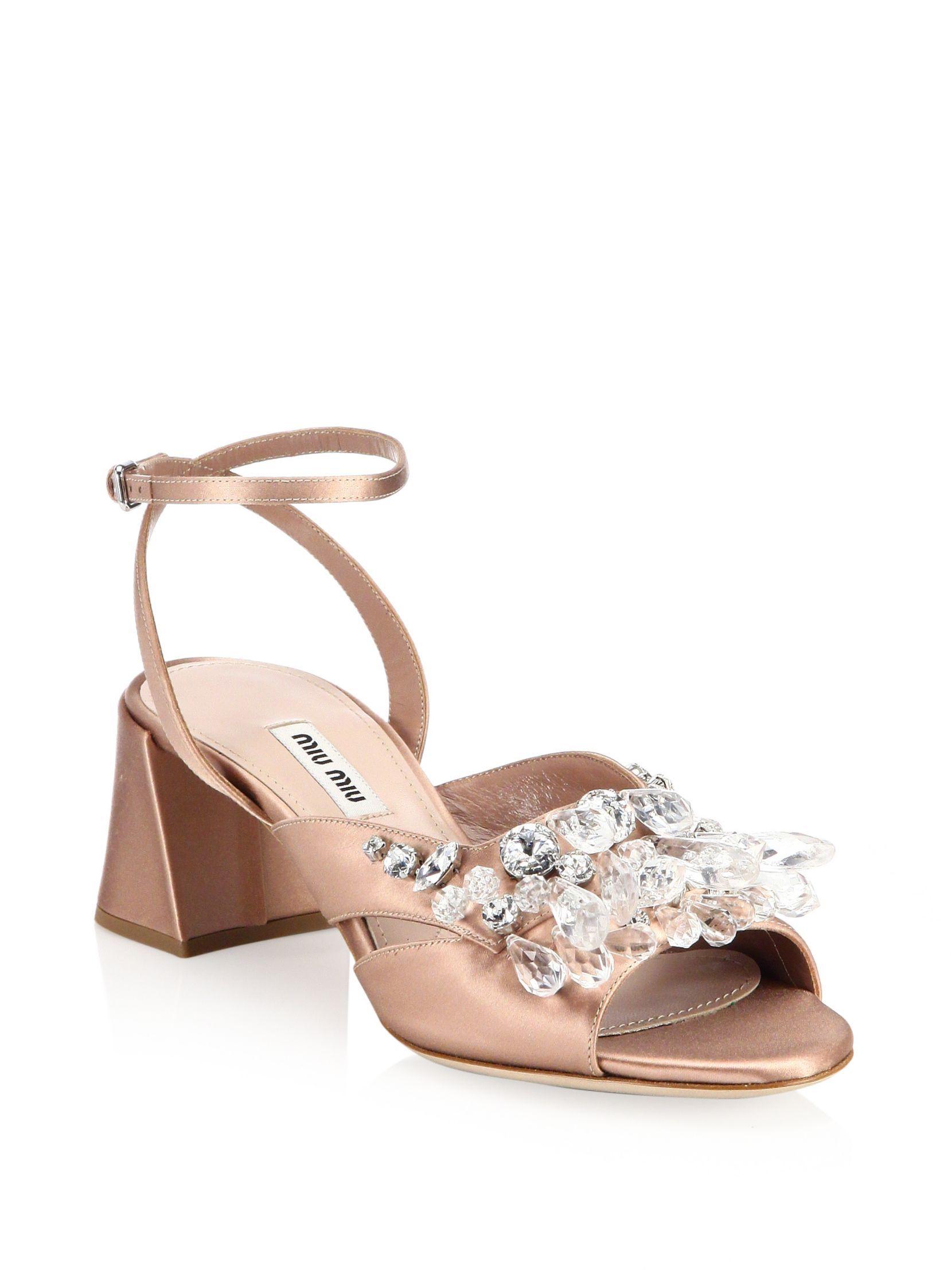 3862f343e Miu Miu Crystal Block Heel Sandals