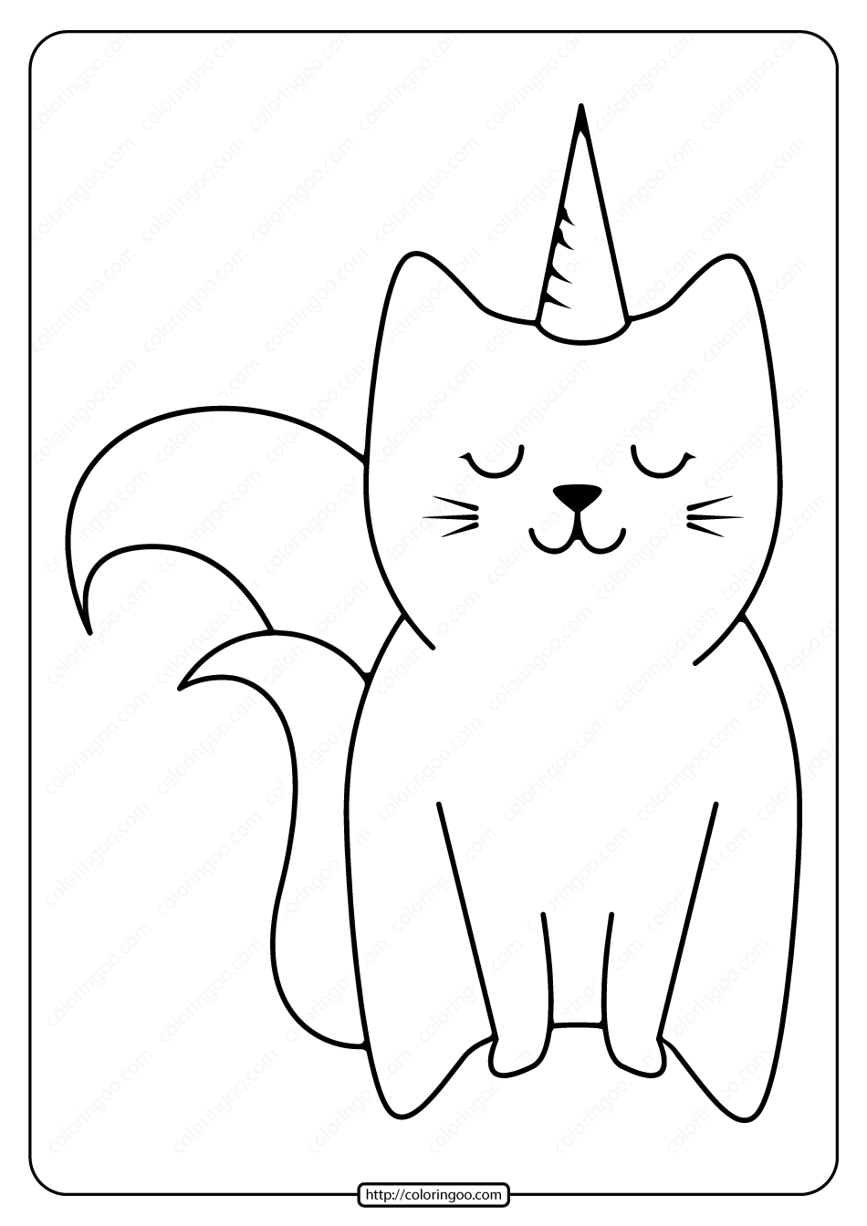 Free Printable Cute Caticorn Pdf Coloring Page Unicorn Coloring Pages Coloring Pages Free Printables