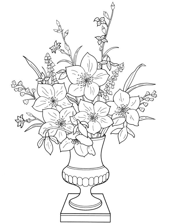 Welcome To Dover Publications Printable Flower Coloring Pages