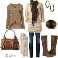 Cream and brown colors makes a wonderful winter ensemble.