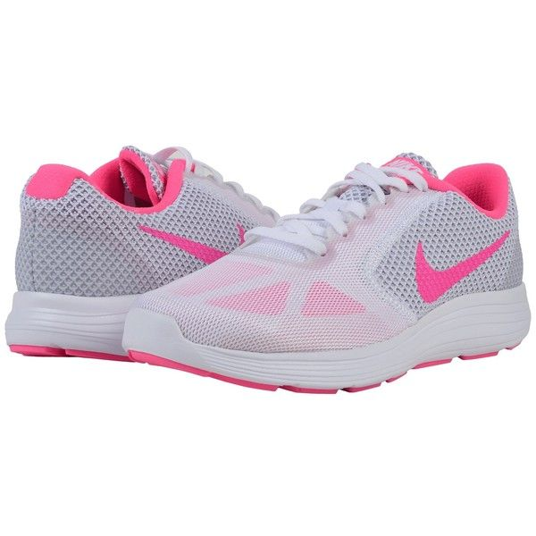 Nike Revolution 3 (White Wolf Grey Pink Blast) Women s Running Shoes ( 60)  ❤ liked on Polyvore featuring shoes b6a5bd007