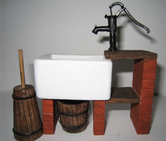 Country Kitchen Fairbanks: Dollhouse Sink, Country Style Sink, Stone Sink ,kitchen