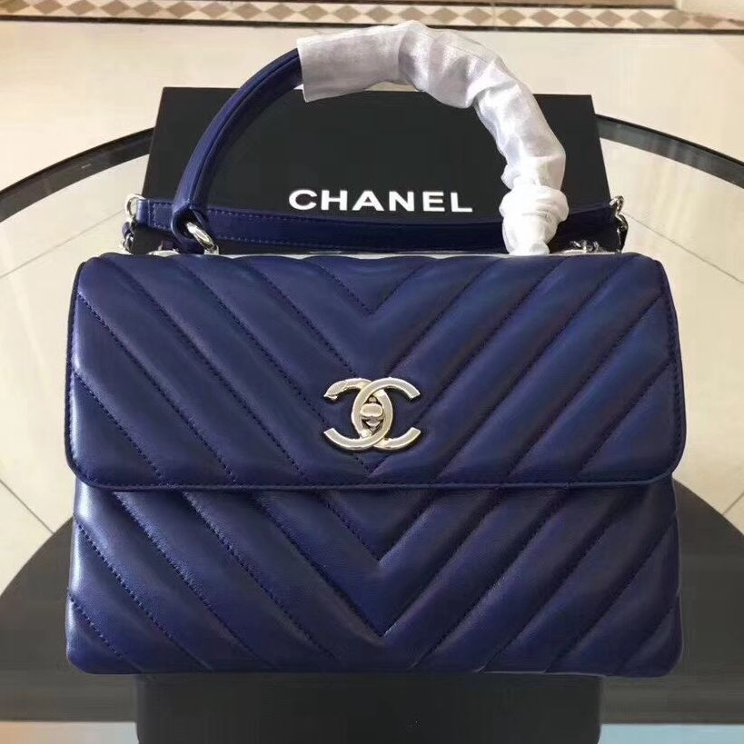 4e692cdfdc2825 Chanel Trendy CC Chevron Lambskin Small Flap Bag with Top Handle A92236  Royal Blue S/S 2018