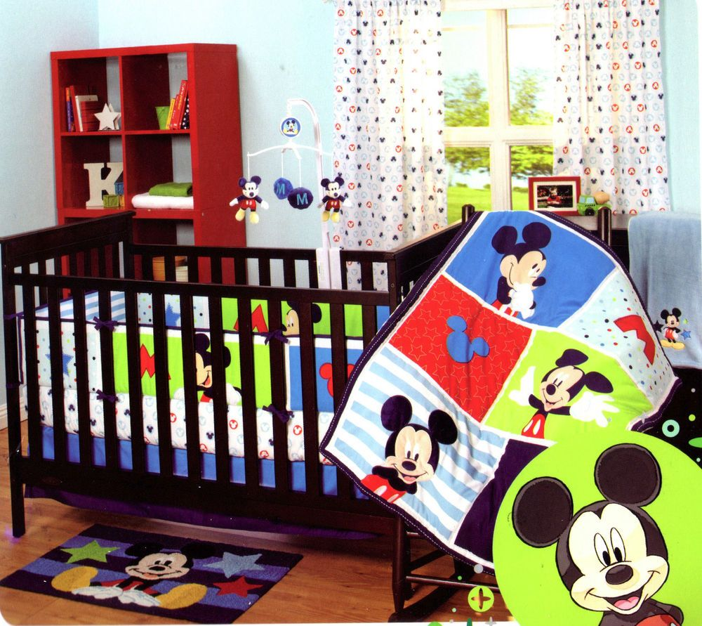 Mickey mouse 3 piece crib bedding set decoraciones de for Decoracion hogar habitaciones