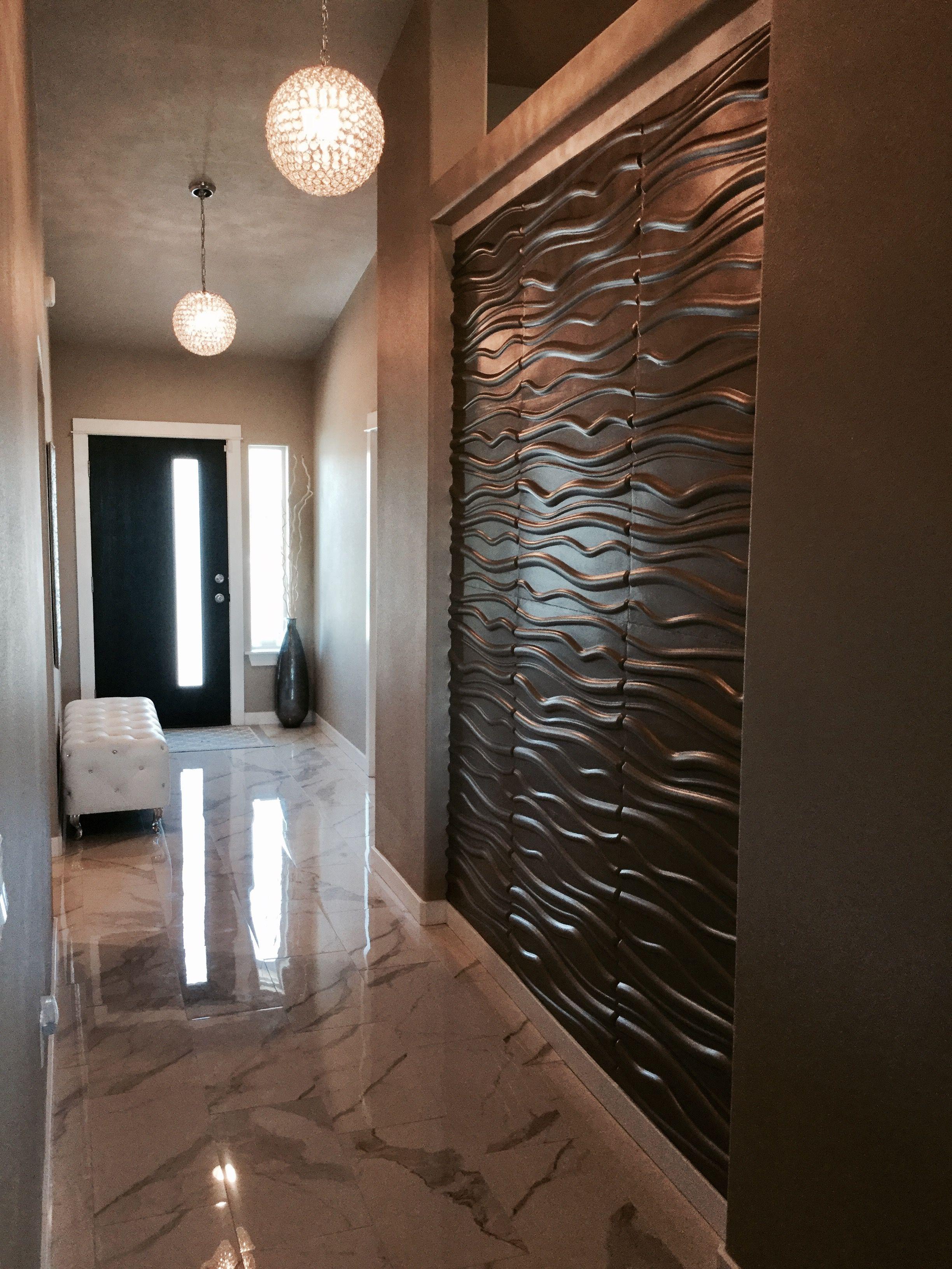 3D wall panels in hallway using Metallic Memories paint