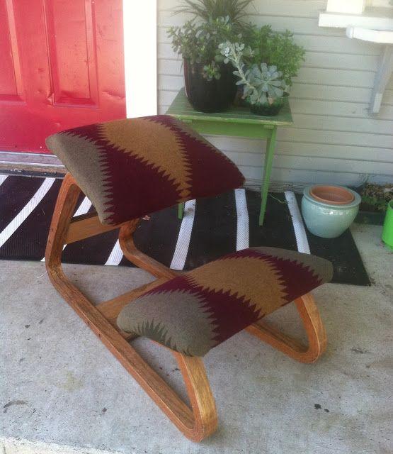 Vintage Scandinavian Kneeling Chair. Reupholstered In