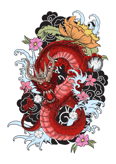 Red Japanese Style Dragon Tattoos