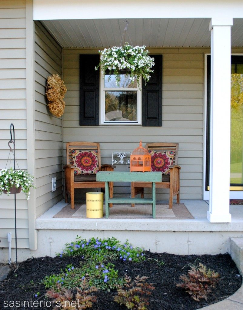 Decorating Ideas, : Engaging Ideas For Front Porch Decorating Ideas Using  Grey Wood Siding Along With Rectangular Green Outdoor Coffee Table And  Hanging ...
