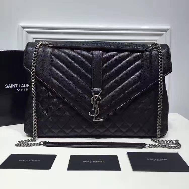 469a79831a Saint Laurent Large Monogram Envelope Satchel in Black Mixed Matelasse  Leather