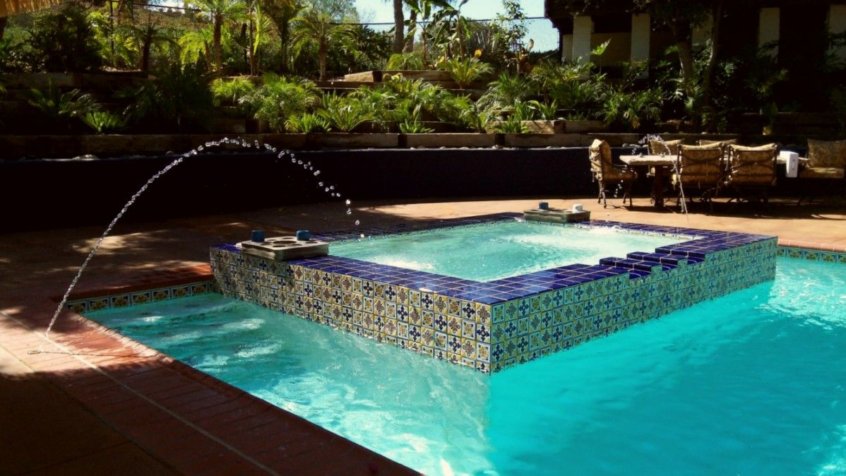 Spanish Colonial Tile In Pool Festive Spa Of Multi Color Talavera Porcelain Tile
