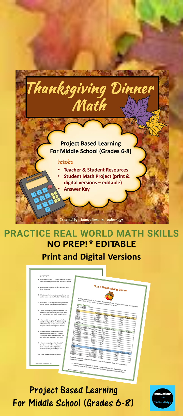 Thanksgiving Dinner Math Distance Learning Skills To Learn Basic Math Math Projects [ 1632 x 720 Pixel ]