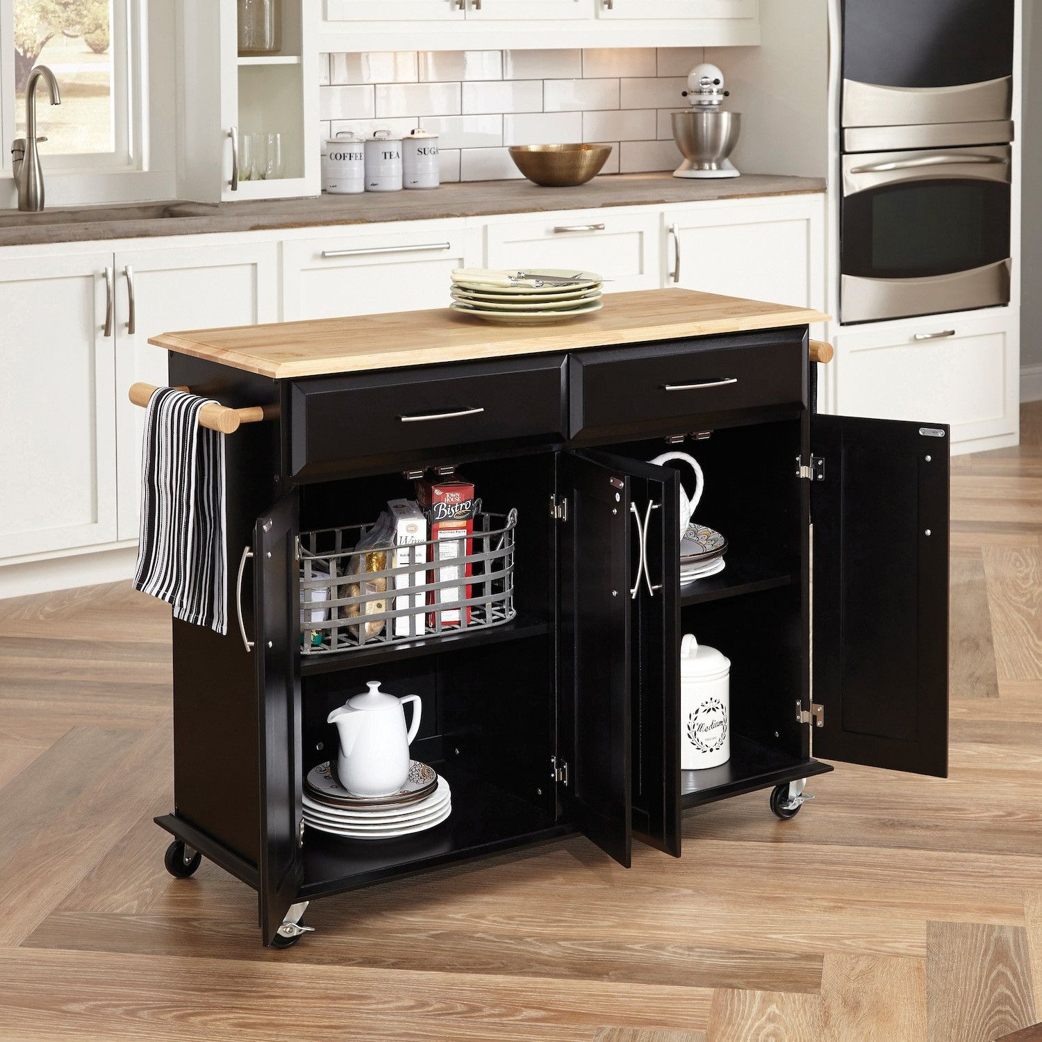 Charlton Home Reg Hamilton Kitchen Island With Wood Top Rolling Kitchen Island Kitchen Island Cart Kitchen Island Cabinets